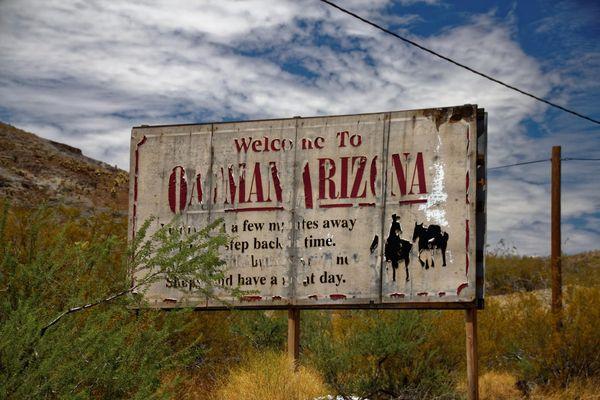 Panneau entrée Oatman Arizona
