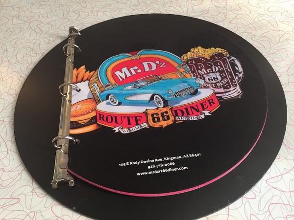 Couverture menu Mr D'z Route 66 Diner Kingman Arizona