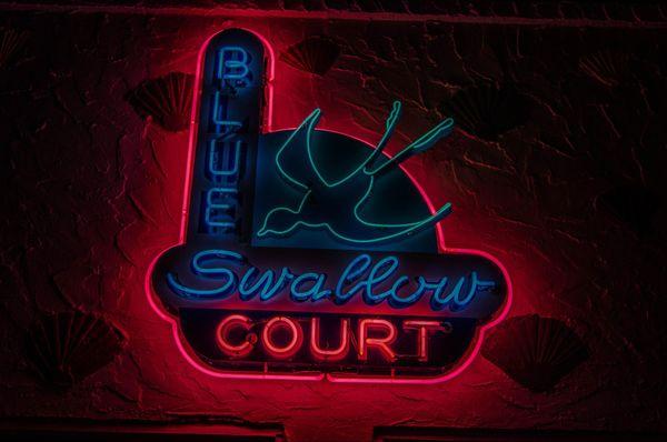 Enseigne néons Blue Swallow Motel Tucumcari Route 66 Nouveau-Mexique