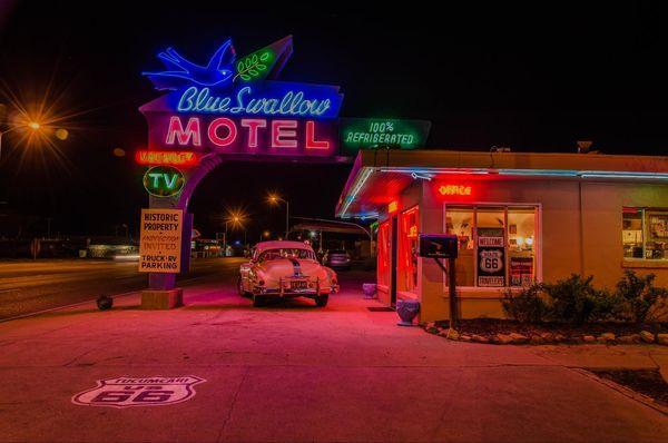Enseignes Blue Swallow Motel Tucumcari Route 66 Nouveau-Mexique
