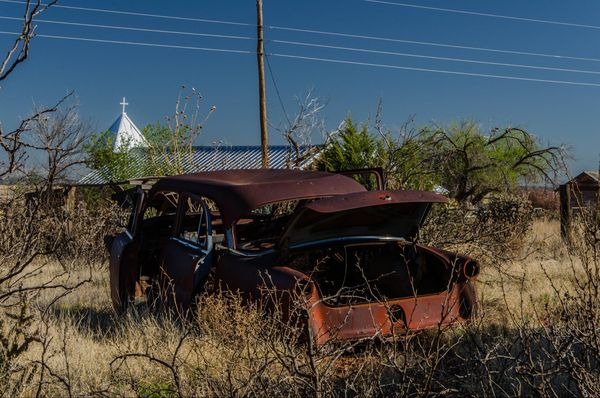 épave de voiture Cuervo Route 66 Nouveau-Mexique