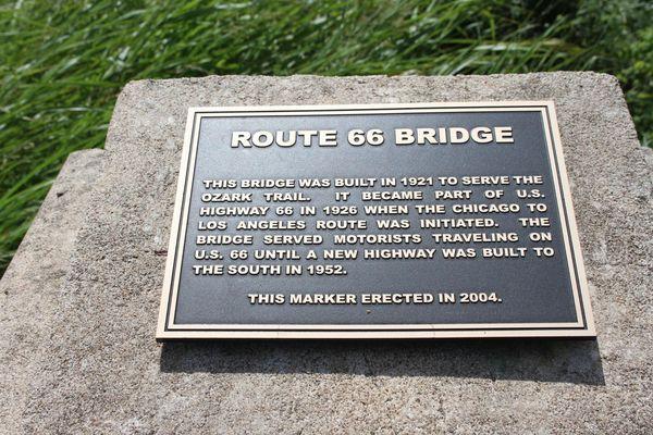 Rock Creek Bridge, plaque commémorative Sapulpa Oklahoma Route 66
