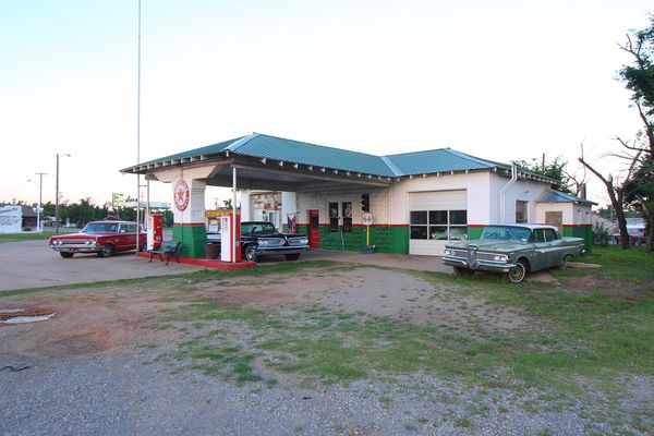 Station essence Texaco Davenport Route 66 Oklahoma