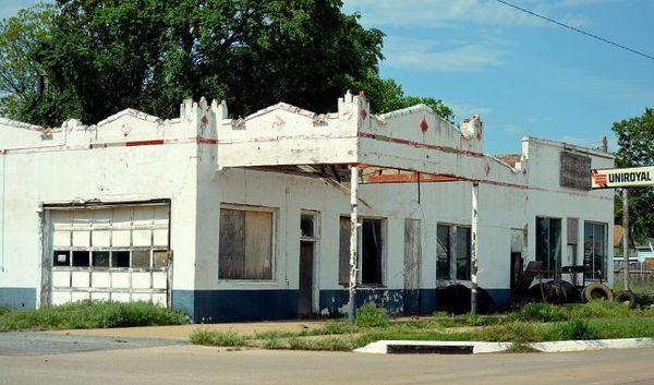 Vestige d'une ville abandonnée Canute Oklahoma Route 66