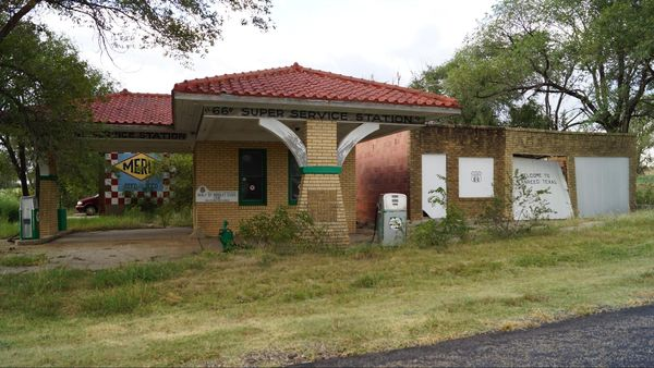 Ancienne station-service Alanreed Route 66 Texas