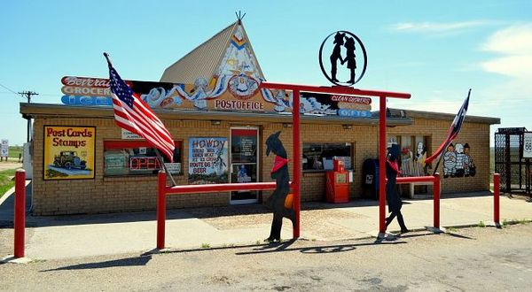 Superette station Phillips 66 Alanreed Route 66 Texas