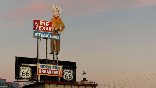 Enseigne Big Texan Steak Ranch Amarillo Route 66 Texas