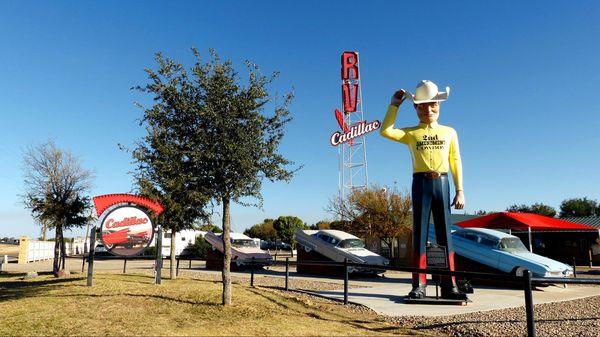 2nd amendment cowboy Cadillac Ranch Route 66 Texas