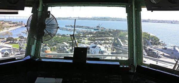Vue de la baie depuis la passerelle de commandement du Midway