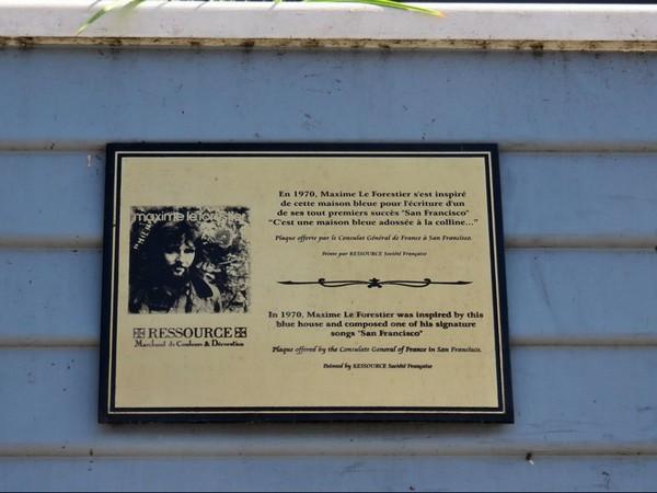 Plaque commémorative Maison Bleue San Francisco