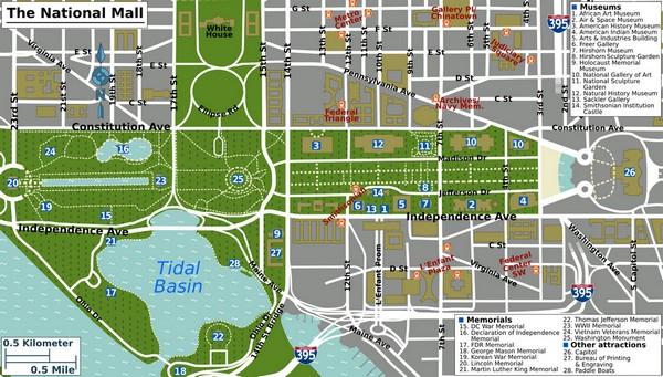 Plan du National Mall Washington DC
